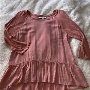 Ann Taylor LOFT peplum 3/4 sleeve blouse   rose